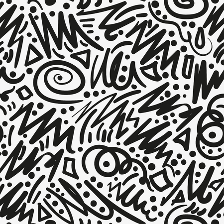 Seamless pattern with hand drawn brush strokes. Ink illustration. Isolated on white background. Hand drawn black elements. Abstract decorative seamless pattern with handdrawn shapes. Hand painted black design elements on white backdrop. Endless background for decor, wrapping or cloth.