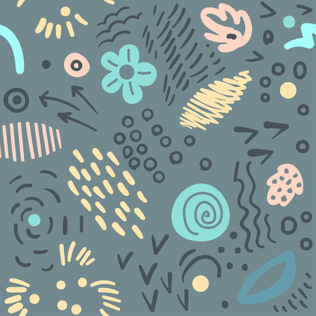 Seamless abstract floral pattern with brush stroke leaves and flowers. Scandinavian stile.