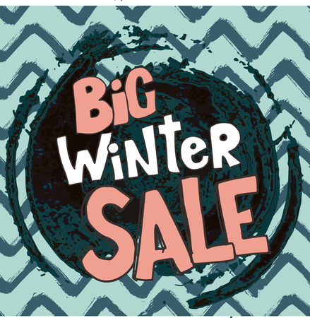 Big winter sale. Vector illustration with lettering on Chevron Zigzag Paint Brush Strokes. Vector Abstract Grunge zigzag background