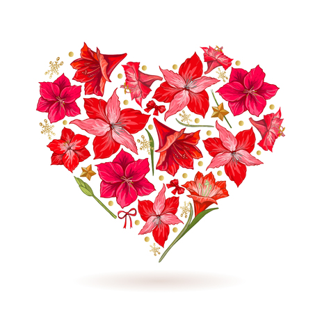 Hand drawn heart of Hipeastrum flowers. Card Valentines Day.