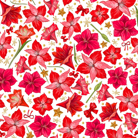 Red hippeastrum flowers with leaves on white background. Seamless pattern. hand drawn vector.