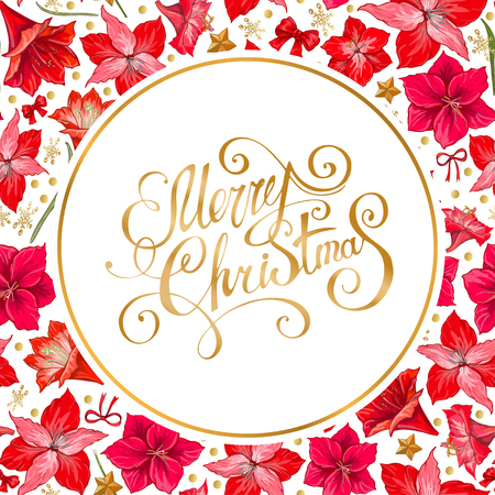 Vector hand drawn hipeastrum frame. Suitable for decoration greeting cards for the Christmas and winter holidays