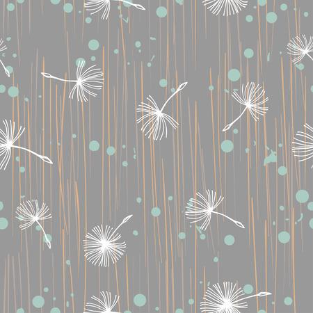Doodle fleurs de pissenlit blanches dessinées à la main sur beige. Modèle minimaliste sans soudure de vecteur. Motif sans fin pour le papier peint, les remplissages de motifs, l'arrière-plan de la page Web, les textures. Dessiné à la main, botanique.