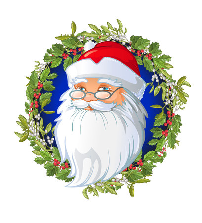 Santas cartoon head on the Christmas wreath decorated with Traditional Christmas plant. Holiday red berry with green leaves and Mistletoe. Decorating for national Festive on white background. xmas design template. Illustration
