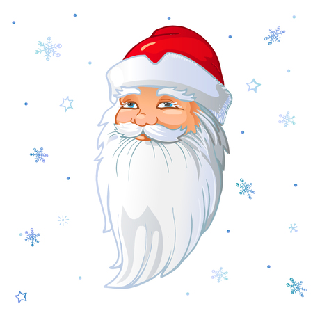 Russian Santa Claus Head in white background with snowflakes. Vector cartoon illustration.