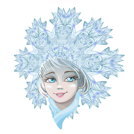 Beautiful young girl snow maiden isolated on white background. Character of Russian folklore. Sketch of Christmas invitation. Vector cartoon close-up illustration