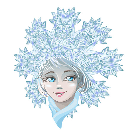 Beautiful young girl snow maiden isolated on white background. Character of Russian folklore. Sketch of Christmas invitation. Vector cartoon close-up illustration.