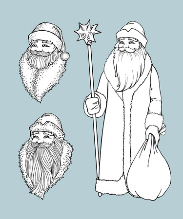 Portrait of Russian Santa Claus. Black and white vector sketched illustration with snowflakes. Icon traditional New Year character. Outlined for coloring book