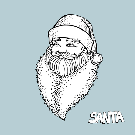 Portrait of Russian Santa Claus. Black and white vector sketched illustration with snowflakes. Icon traditional New Year character. Outlined for coloring book.