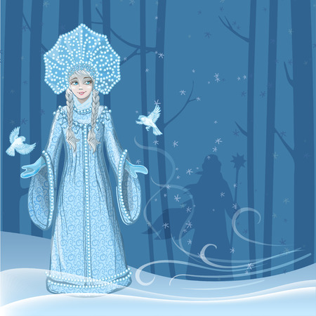 Beautiful young girl snow maiden with two snow birds flying around in the winter forest and the silhouette of Russian Santa Claus behind the trees. Character of Russian folklore. Sketch of Christmas invitation. Vector cartoon illustration Ilustração