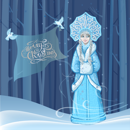 Beautiful young girl snow maiden with two snow birds flying around in the winter forest and lettering Merry Christmas. Character of Russian folklore. Sketch of Christmas invitation. Vector cartoon illustration