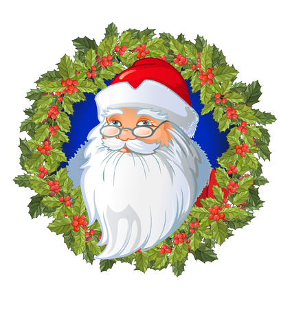 Santas cartoon head on the Christmas wreath decorated with Traditional Christmas plant. Holiday red berry with green leaves. Decorating for national Festive on white background. xmas design template. Illustration