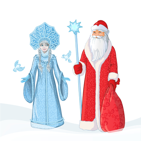 Russian Father Frost also known as Ded Moroz and his granddaughter Sneguroschka . Vector cartoon illustration.