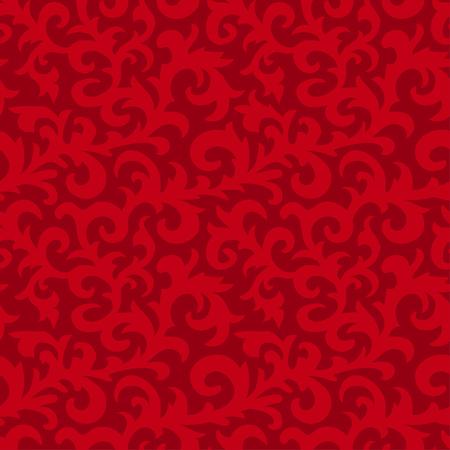 Flower seamless pattern with elements of folk style. Dark red background. Vector vintage floral illustration. Ilustração