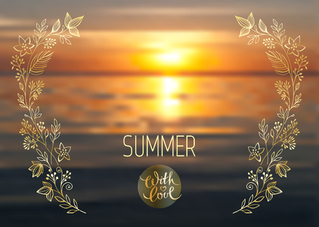 Warm wishes, vector lettering, handwritten golden text and floral elements on blurred background of sea sunset. Summer with love.
