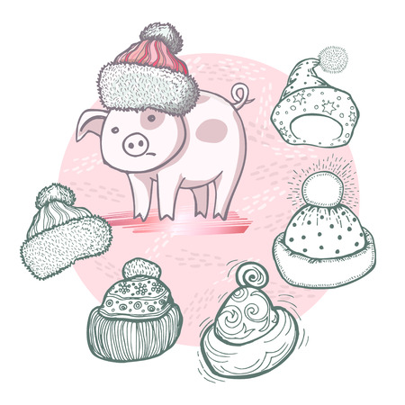 Vector set of hand-drawn funny knitted hats and cartoon pig on powder pink background with golden elements.