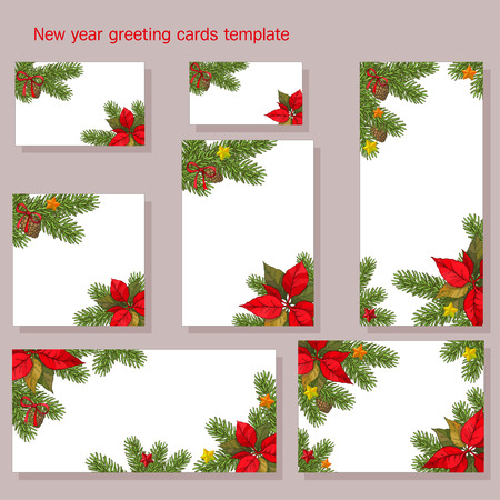 New year, christmas greeting and invitation card with fir brunches cones, bows stars and Poinsettia flowers. vector illustration. Illustration