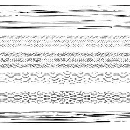 Abstract grunge strips. Set of 6 hand drawn seamless striped irregular ink strokes brushes. Vector illustration. Ilustração