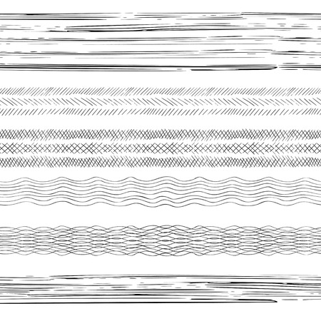 Abstract grunge strips. Set of 6 hand drawn seamless striped irregular ink strokes brushes. Vector illustration. Illustration