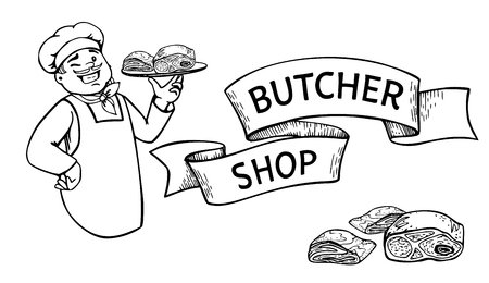 Happy butcher holding a tray with a piece of meat vector cartoon. Ribbon banner with lettering Butcher shop