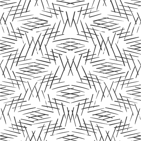 Monochrome striped lines background. Intersecting diagonal monochrome texture. Seamless hand drawn vector pattern