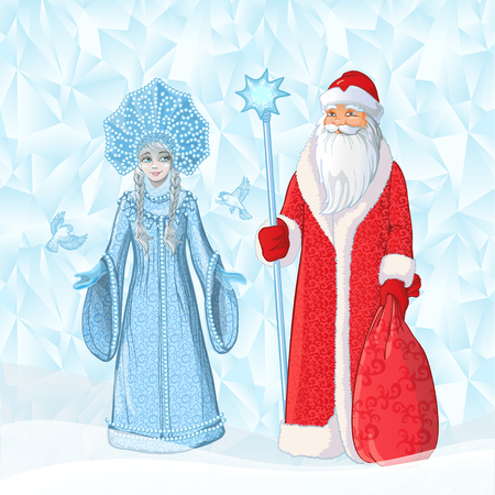 Russian Father Frost also known as Ded Moroz and his granddaughter Sneguroschka. Vector cartoon illustration on ice polygonal background