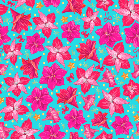 Pink hippeastrum flowers on blue background. Seamless pattern. hand drawn vector.