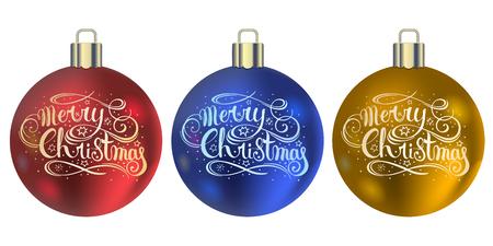 Set of realistic Christmas balls. Christmas balls with handwritten lettering. New Year decoration. Vector. Ilustração