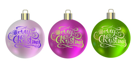 Set of realistic Christmas balls. Pink and green Christmas balls with handwritten lettering. New Year decoration. Vector.