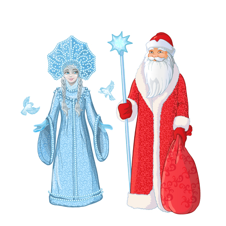Russian Father Frost also known as Ded Moroz and his granddaughter Sneguroschka. Hand drawn cartoon illustration 写真素材