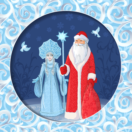 Greeting card with Russian Father Frost also known as Ded Moroz and his granddaughter Sneguroschka . Vector cartoon illustration. Happy New Year - Russian holiday. Russian translation: Happy New Year.  イラスト・ベクター素材