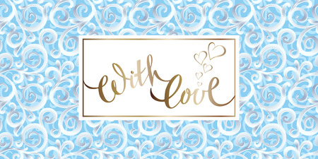 Vector template for greeting card or banner with hand-written inscription on the background of classical ornament with curls.
