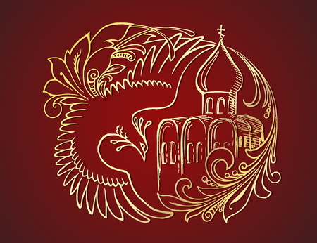 Hand drawn golden lined fairy tail bird, character of Russian folk tales and old Russian cathedral, on the deep red background. Vector graphic element for design of cards, t-shirts, bags and other souvenirs