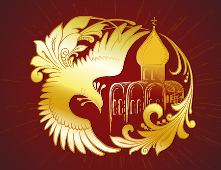 Hand drawn golden fairy tail bird, character of Russian folk tales and old Russian cathedral, on the deep red background. Vector graphic element for design of cards, t-shirts, bags and other souvenirs Çizim