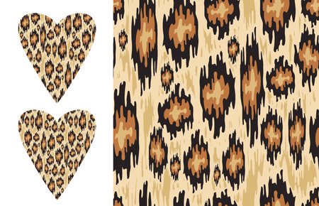 Leopard ikat texture and Distressed ikat pattern and Vector heart shape with wild print