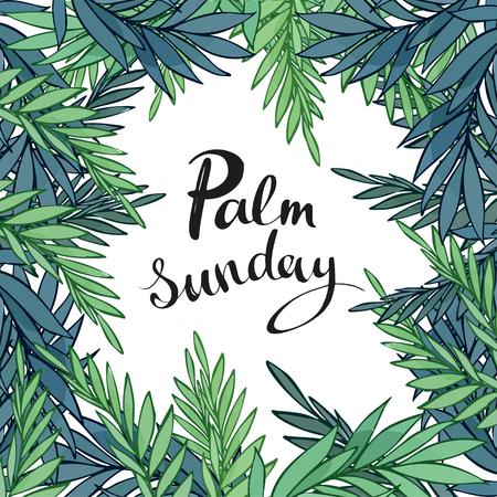 Branches de palmier entourant le texte du dimanche des Rameaux sur fond blanc.