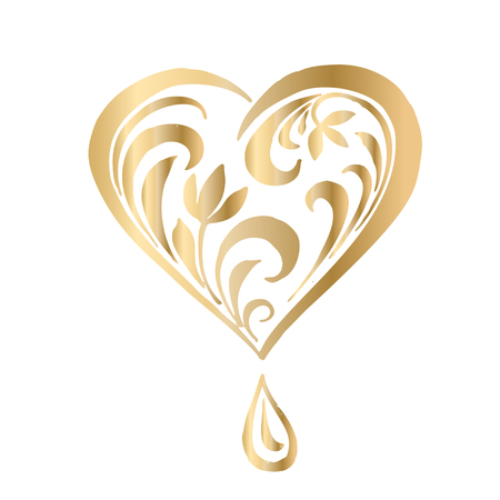 Ornate vector heart in Victorian style. Elegant element for logo design, place for text. Lace floral illustration for wedding invitations, greeting cards, Valentines cards. Golden luxury illustration. Illustration
