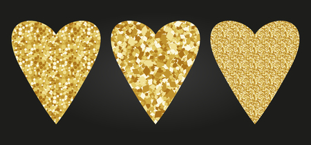 Heart shape print with gold glitter pattern. Good for use and design. Good for greeting card