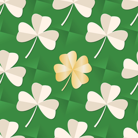 St. Patrick's day seamless pattern with Clover leaves on green background. Trefoil and gold Four leaf paper clover