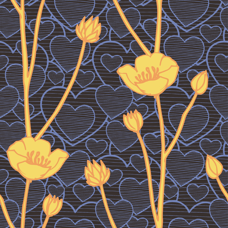 Vector seamless pattern with hand drawing yellow buttercup and doodle blue hearts, botanical illustration, floral elements, hand drawn repeatable background. Contrast artistic backdrop.