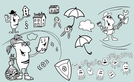 Satz von Cartoon-Verkäufern und handgezeichneten Objekten auf Immobilienverkäufen. Komischer Makler des kleinen Mannes mit einem Haus in seinen Händen. Programmierer, Programmierer, Webentwickler oder Softwareingenieur mit Brille steht und hält eine Flasche mit gefangenen Viren,