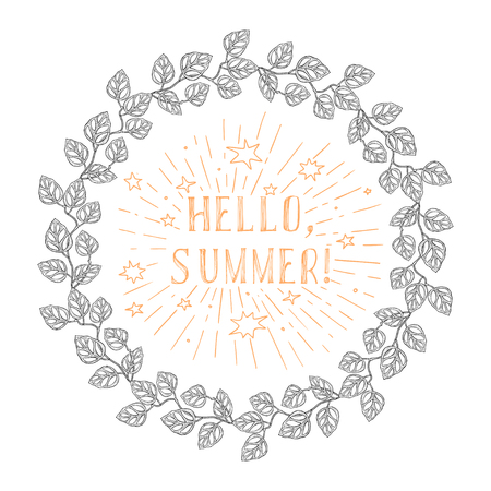 round frame from floral pattern and inspiration text HALLO SUMMER - vector.