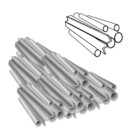 Metal rolling, pipe production, channel. Volume and line vector illustration