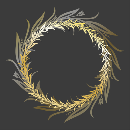 Vector round golden flower frame on dark background. Framing for greeting cards, motivational lettering and magic invitations. Eps-8 Ilustrace