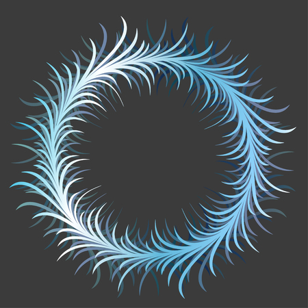 Vector hiver épineux cadre bleu rond sur fond sombre. Encadrement pour cartes de vœux, lettres de motivation et invitations. Eps-8