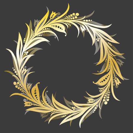 Vector round golden floral frame. Framing for greeting cards and wedding invitations. Eps-8 Illustration
