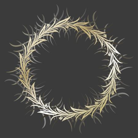 Vector round golden flower frame on dark background. Framing for greeting cards, motivational lettering and invitations. Eps-8