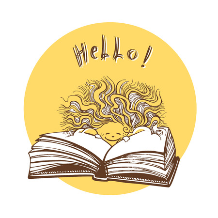 A smiling sun peeps out from behind an open book. Never stop reading. Hand drawn illustration Stock Photo