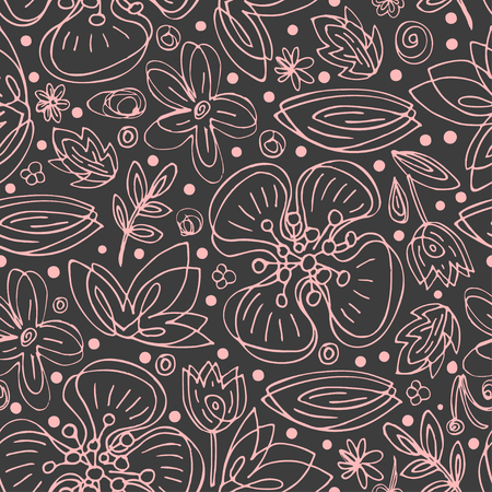 Vector simple flower pattern drawing of closed continuous lines. Scandinavian style. Ilustrace