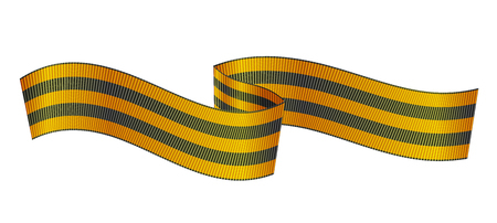 Georgian ribbon, symbol of Russian Victory day. Saint George ribbon, symbol of Russian Victory day with flag style cut ends, realistic horizontal vector illustration isolated in white background. Ilustrace